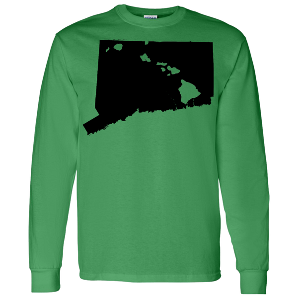 Living in Connecticut with Hawaii Roots LS T-Shirt 5.3 oz., T-Shirts, Hawaii Nei All Day