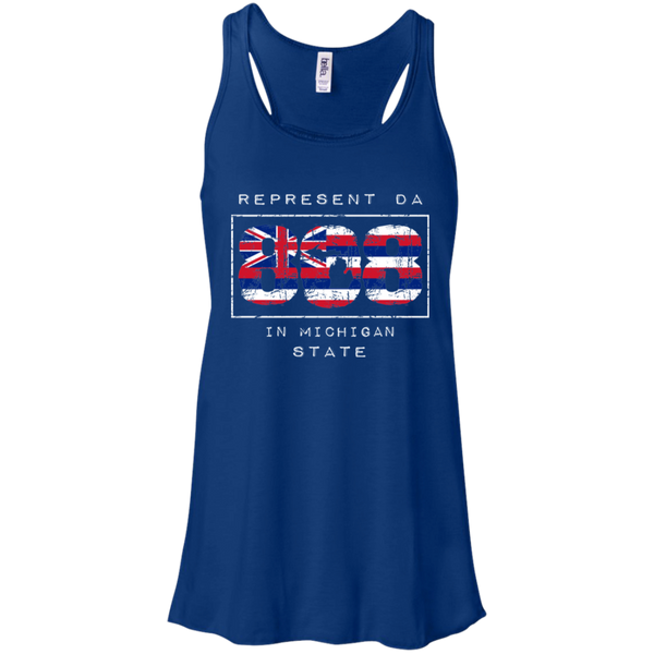Rep Da 808 In Michigan State Bella + Canvas Flowy Racerback Tank, T-Shirts, Hawaii Nei All Day