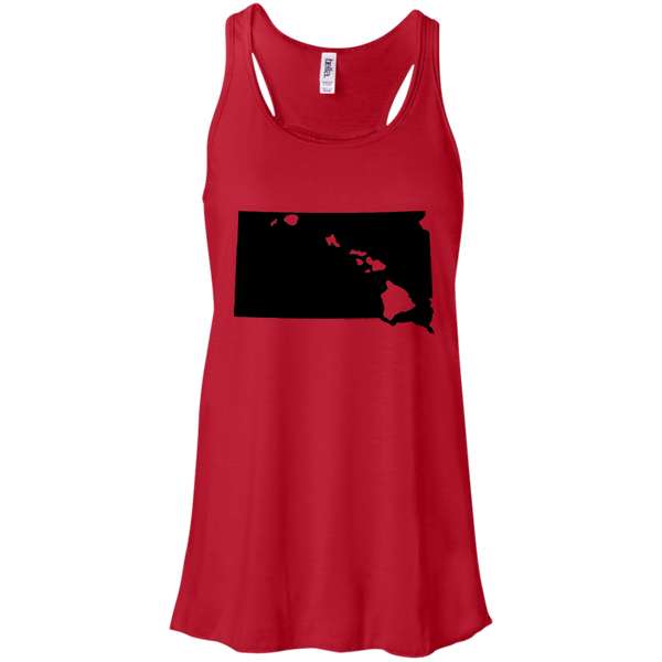 Living in South Dakota with Hawaii Roots Bella + Canvas Flowy Racerback Tank, T-Shirts, Hawaii Nei All Day