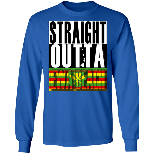 Straight Outta Ewa Beach (Kanaka Maoli) LS T-Shirt, T-Shirts, Hawaii Nei All Day