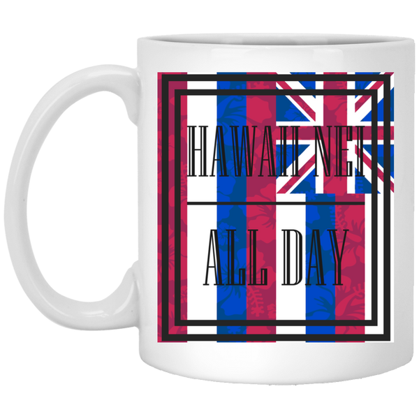 Hawai'i Floral Flag 11 oz. Mug, Drinkware, Hawaii Nei All Day, Hawaii Clothing Brands