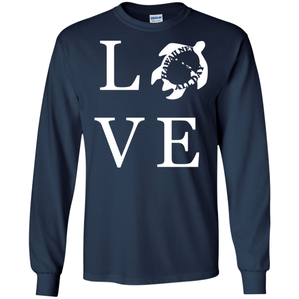 Honu LOVE (white) LS Ultra Cotton T-Shirt, T-Shirts, Hawaii Nei All Day
