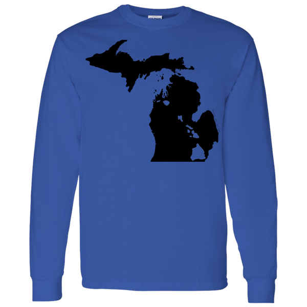 Living in Michigan with Hawaii Roots LS T-Shirt 5.3 oz., T-Shirts, Hawaii Nei All Day