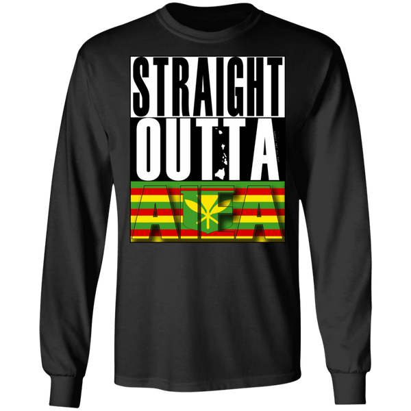 Straight Outta Aiea (Kanaka Maoli) LS T-Shirt, T-Shirts, Hawaii Nei All Day