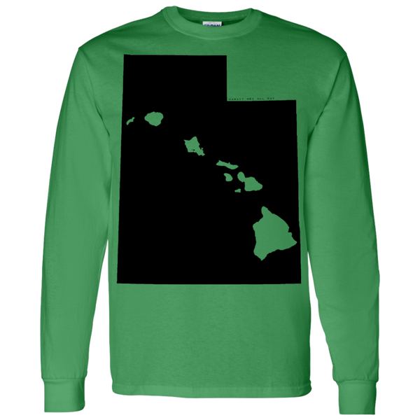 Living in Utah with Hawaii Roots LS T-Shirt 5.3 oz., T-Shirts, Hawaii Nei All Day, Hawaii Clothing Brands