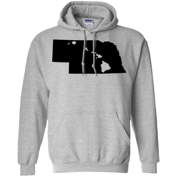 Living in Nebraska with Hawaii Roots Pullover Hoodie 8 oz., Sweatshirts, Hawaii Nei All Day