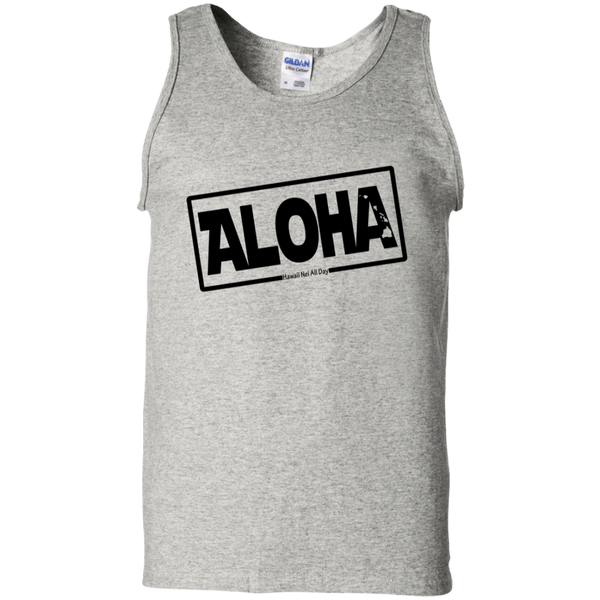 Aloha Hawai'i Nei (Islands blk ink) 100% Cotton Tank Top, T-Shirts, Hawaii Nei All Day