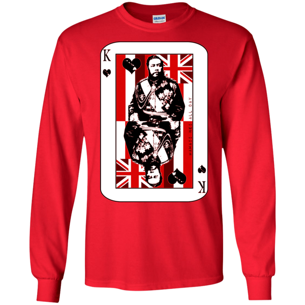 The King of Hawai'i Kalakaua(red ink) LS Ultra Cotton T-Shirt, T-Shirts, Hawaii Nei All Day