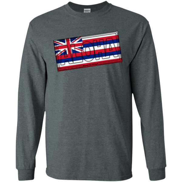 Aloha Hawai'i Flag LS Ultra Cotton T-Shirt, T-Shirts, Hawaii Nei All Day, Hawaii Clothing Brands