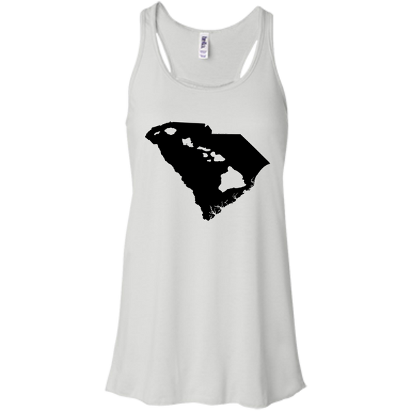 Living In South Carolina With Hawaii Roots Bella+Canvas Flowy Racerback Tank, , Hawaii Nei All Day, Hawaii Clothing Brands