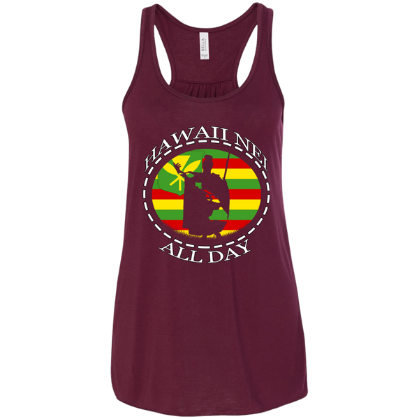 The Rising Sun Kanaka Maoli Flag Bella + Canvas Flowy Racerback Tank