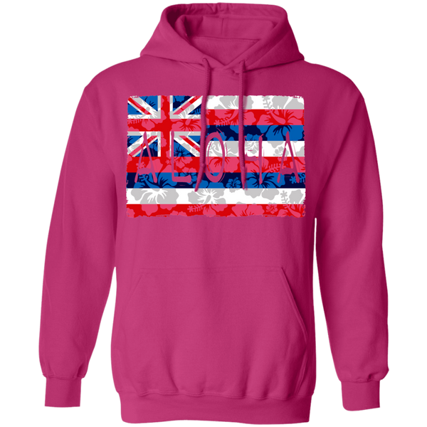 Aloha Floral Flag Pullover Hoodie, Sweatshirts, Hawaii Nei All Day