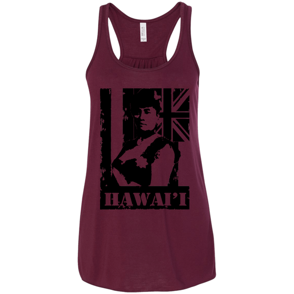 Hawai'i Queen Liliuokalani Bella + Canvas Flowy Racerback Tank, T-Shirts, Hawaii Nei All Day