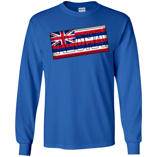 Aloha Hawai'i Flag LS Ultra Cotton T-Shirt, T-Shirts, Hawaii Nei All Day