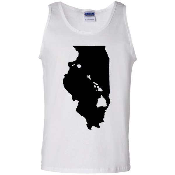 Living in Illinois with Hawaii Roots 100% Cotton Tank Top, T-Shirts, Hawaii Nei All Day, Hawaii Clothing Brands