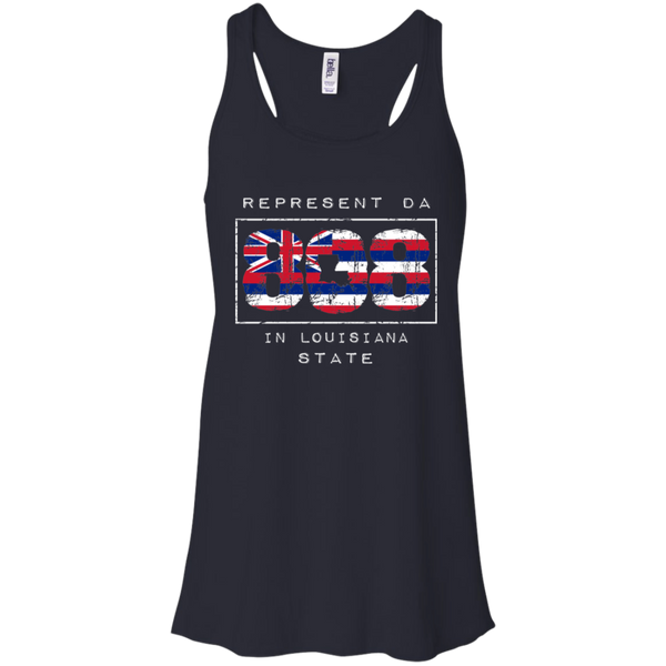 Rep Da 808 In Louisiana State Bella + Canvas Flowy Racerback Tank, T-Shirts, Hawaii Nei All Day