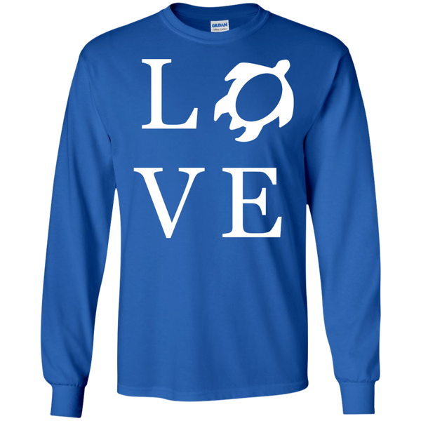 Honu LOVE LS Ultra Cotton Tshirt, Long Sleeve, Hawaii Nei All Day, Hawaii Clothing Brands