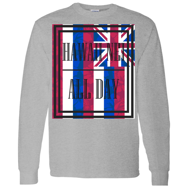 Hawai'i Floral Flag LS T-Shirt 5.3 oz., T-Shirts, Hawaii Nei All Day, Hawaii Clothing Brands