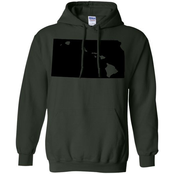 Living in Kansas with Hawaii Roots Pullover Hoodie 8 oz., Sweatshirts, Hawaii Nei All Day, Hawaii Clothing Brands