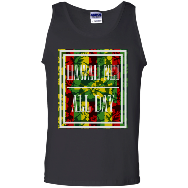 Hawai'i Floral Kanaka Maoli 100% Cotton Tank Top, T-Shirts, Hawaii Nei All Day