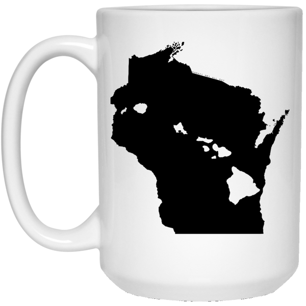 Wisconsin and Hawaii Roots White Mug, Apparel, Hawaii Nei All Day