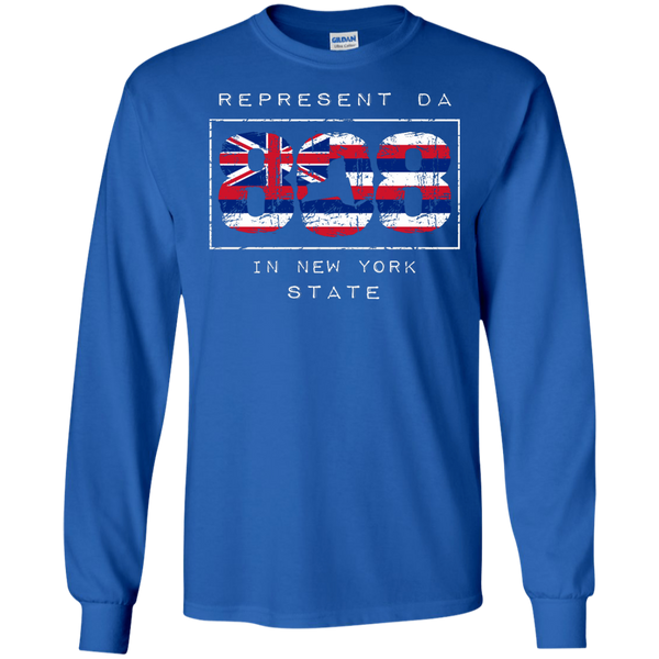 Represent Da 808 In New York State LS Ultra Cotton T-Shirt, T-Shirts, Hawaii Nei All Day, Hawaii Clothing Brands