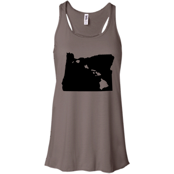 Living in Oregon with Hawaii Roots Bella + Canvas Flowy Racerback Tank, T-Shirts, Hawaii Nei All Day