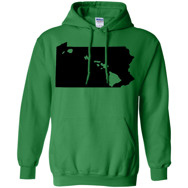 Living in Pennsylvania with Hawaii Roots Pullover Hoodie 8 oz., Sweatshirts, Hawaii Nei All Day