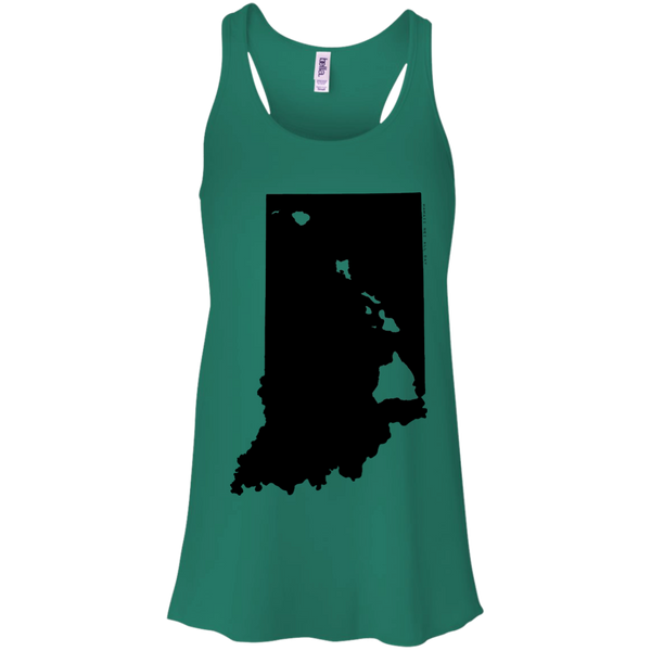 Living in Indiana with Hawaii Roots Bella + Canvas Flowy Racerback Tank, T-Shirts, Hawaii Nei All Day, Hawaii Clothing Brands