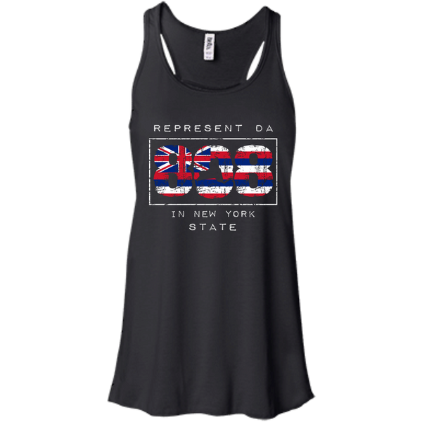 Represent Da 808 In New York State Bella + Canvas Flowy Racerback Tank, T-Shirts, Hawaii Nei All Day