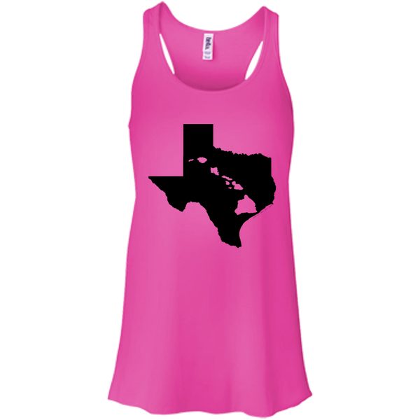 Living In Texas With Hawaii Roots Bella+Canvas Flowy Racerback Tank, , Hawaii Nei All Day