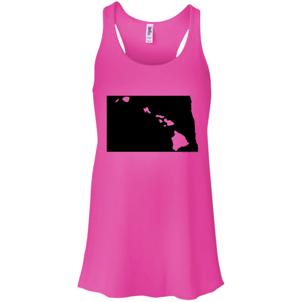 Living in North Dakota with Hawaii Roots Bella + Canvas Flowy Racerback Tank, T-Shirts, Hawaii Nei All Day