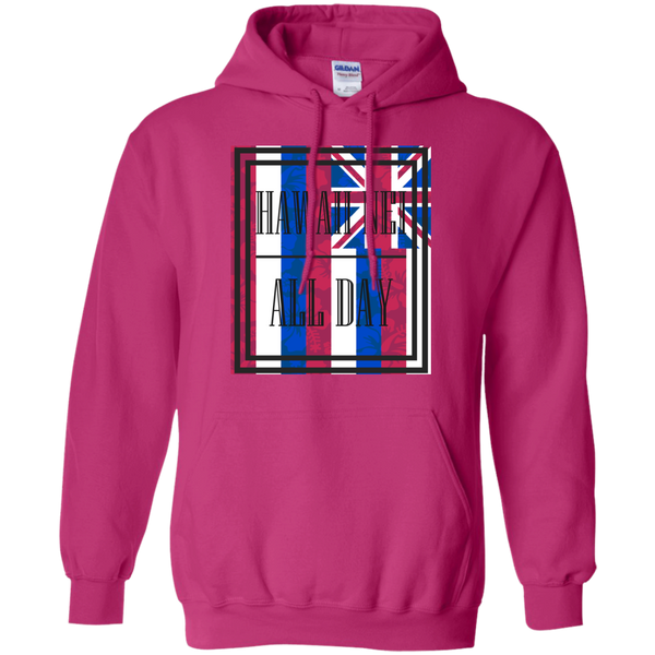 Hawai'i Floral Flag Pullover Hoodie 8 oz., Sweatshirts, Hawaii Nei All Day, Hawaii Clothing Brands