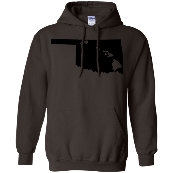 Living in Oklahoma with Hawaii Roots Pullover Hoodie 8 oz., Sweatshirts, Hawaii Nei All Day