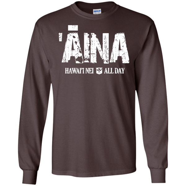 Aina Hawai'i Nei All Day (white ink) LS Ultra Cotton T-Shirt, T-Shirts, Hawaii Nei All Day, Hawaii Clothing Brands
