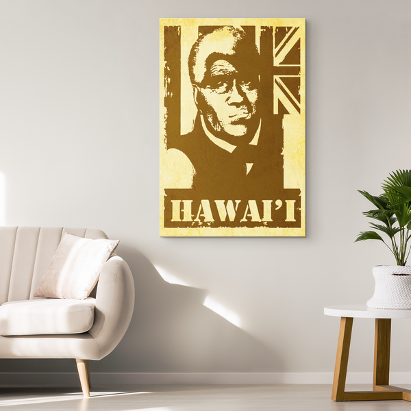 Hawai'i King Kamehameha(older) Vintage Distressed Canvas Print, Canvas Wall Art 2, Hawaii Nei All Day