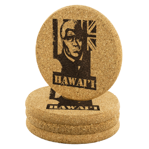 Hawai'i King Kamehameha(older) Round Cork Coaster, Coasters, Hawaii Nei All Day