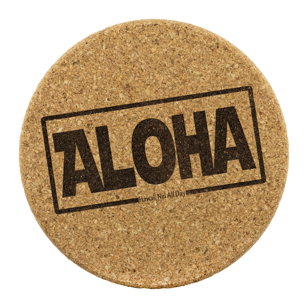 Aloha Hawai'i Round Cork Coaster Set, Coasters, Hawaii Nei All Day, Hawaii Clothing Brands