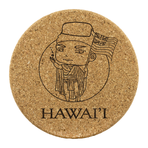 Chibi Style Hawai'i Round Cork Coaster Set, Coasters, Hawaii Nei All Day