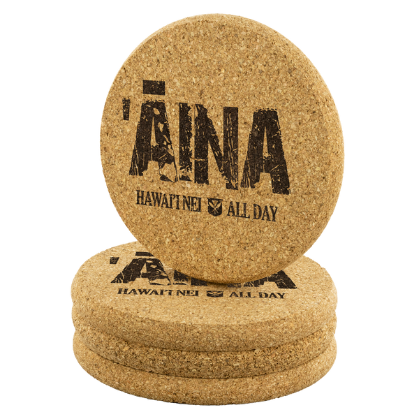ʻĀina Hawai'i Nei Round Cork Coaster Set, Coasters, Hawaii Nei All Day