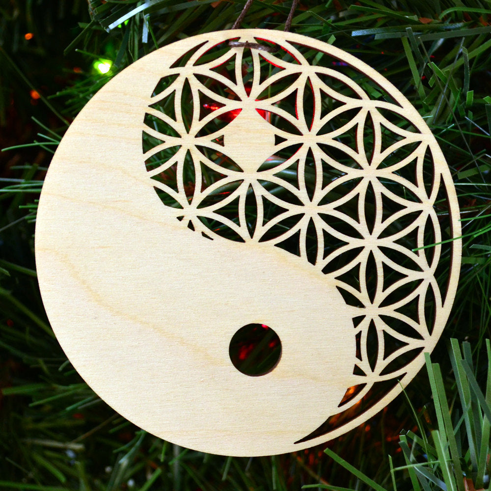 Yin Yang Flower Of Life Ornament Holiday Ornament Sacred Symbol