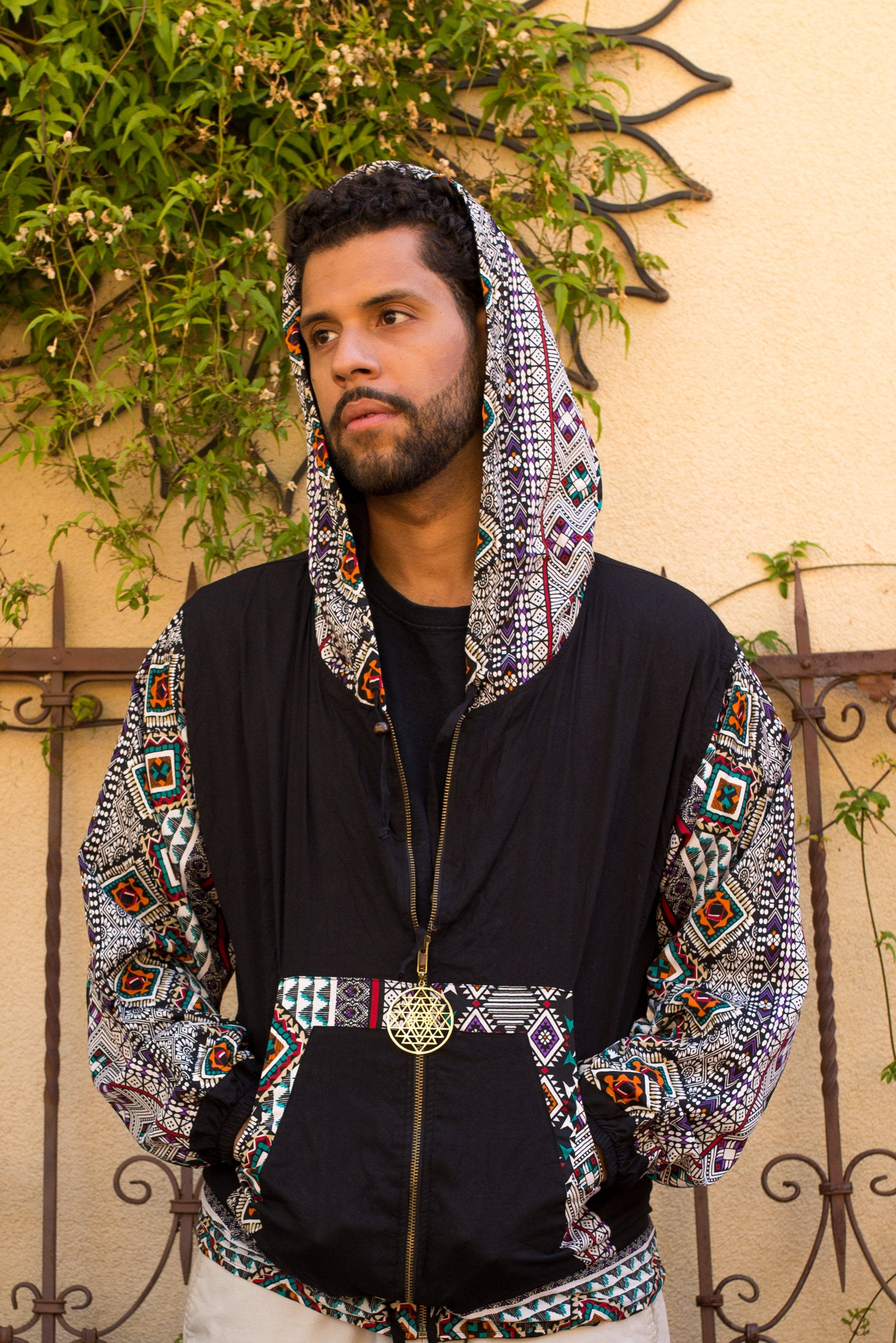 Unisex Reversible Hoodie Hoody Sweater Sweatshirt - Shri Yantra Zipper Pull - Playa Attire Mens Wear Inside Out Guys Boys Mens Ukg9dA