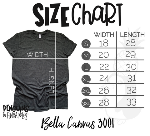 Size chart Bella Canvas Penguins and Pineapples