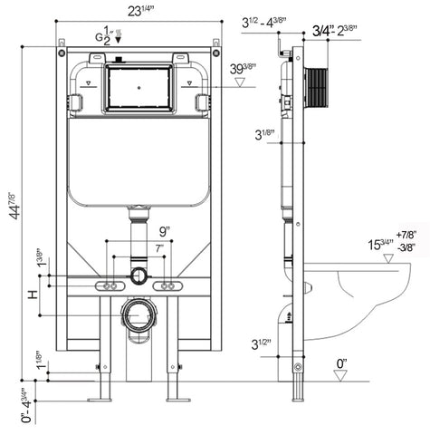 Concealed In Wall Toilet Tank Carrier System 2x4