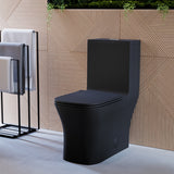 Concorde One-Piece Dual-Flush Square Toilet in Matte Black