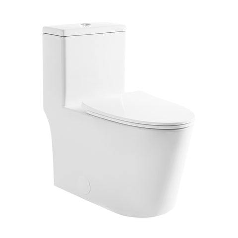 Dreux High Efficiency One Piece Elongated Toilet with 0.8 GPF Water Saving Patented Technology