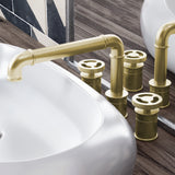 Avallon Widespread, Double Handle, Bathroom Faucet in Brushed Gold