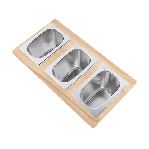 9 x 16.75 Condiment Serving Board with 3 Bowls