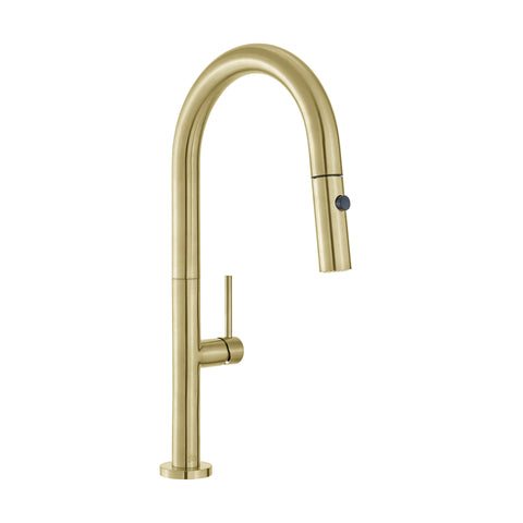 Chalet Single Handle, Pull-Down Kitchen Faucet in Brushed Gold
