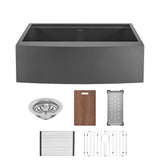 "Tourner 33"" x 22"" Stainless Steel, Single Basin, Farmhouse Kitchen Workstation Sink with Apron in Black"